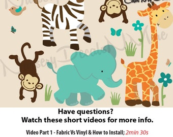 Jungle Wall Decals for Nursery, Jungle Decals, Zebra Decals (Full Size WA Animals Wild About Teal) WAA, Jungle Wall Stickers