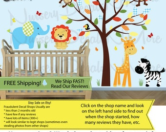 Childrens Wall Decals, Boys Room, Jungle Wall Decals, Boy Tree Decal (SG Full Size Animal/Tree Color Me Happy) SGF