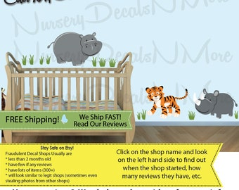 Repositionable Jungle Decals, Tiger Wall Decals, Tiger Stickers, Rhino (SG Extra Animal Evergreen) SGEA