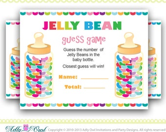 Gender Neutral Colorful Jelly beans guess game, how many jelly beans game for Baby Shower.