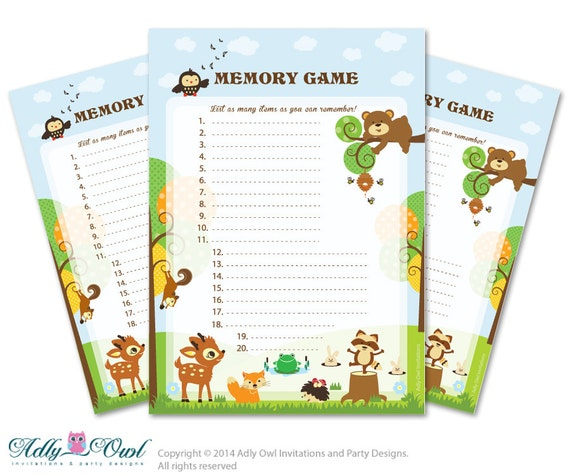 memory game for baby shower printable card for baby animals shower