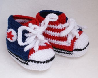 Baby Booties American Flag Knitted Baby Converse Booties Patriotic Baby Shoes 4th of July n Red White Blue USA Patriotic Shoes /0-6 month