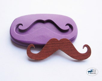 Curly Handle Bar Mustache Mold - Old Timey Steampunk Mustache - Silicone Molds - Kawaii - Polymer Clay Resin Fondant