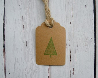 Primitive Rustic Country Cabin Single Evergreen Hang Tag Gift tag Craft supply Minimalist Pine Tree Kraft Cardstock 25 Tags