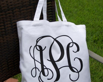 Large Monogram Tote Bag, Monogrammed Bridesmaid Gift, Monogrammed Bridal Shower Gift,