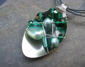 Spoon Necklace;Sea Green Collection Wire Wrapped and Beaded; Upcycle