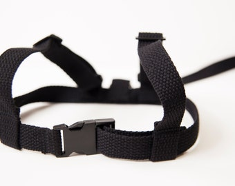 Baby & Toddler harness, walking lead.Cotton webbing leash. All Black.