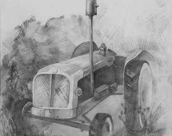 Original tractor drawing, paper, pencils, handmade, country side, art, one of a kind, oldschool, agricultural machinery