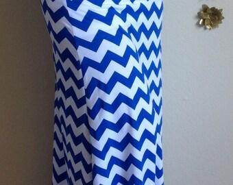Royal blue and white Chevron maxi skirt, summer skirt, chevron maxi skirt, skirt, maternity skirt, long skirt