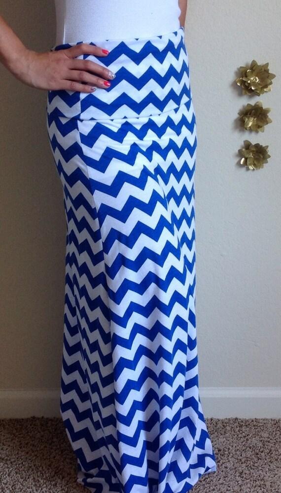 items similar to royal blue and white chevron maxi skirt