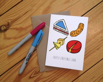 Cheesy Illustrated Greetings Card