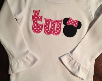 "Minnie Mouse ""Two"" ruffle shirt"