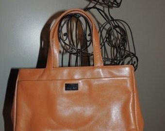 Item #P000003 Vintage Perlina New York Butterscotch Double Handle Convertible Glove  Leather Satchel