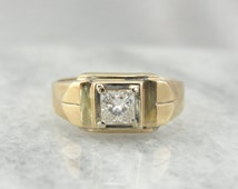 Retro Era Men's Ring or Unique Wedding Band with Square Cut Diamond VHLDKN-N