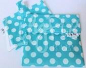 Reusable Sandwich Bag & Reusable Snack Bag Set in BLUE W/DOTS print - Velcro - ECOfriendly - Food Safe - Dishwasher Safe - Back to School
