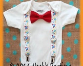 Outer Space Birthday Party Outfit - Rocket Ship Suspenders - Space Theme Birthday - Space Shirt - Rocket Ship Outfit - Baby Boy Birthday -