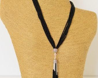 Black tassel necklace, long black necklace, tassel fringe necklace, statement necklace, boho, multistrand, beaded necklace,silver and black