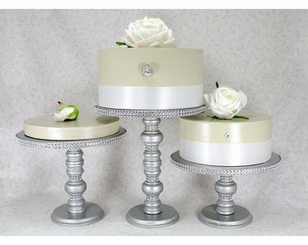 3 silver cake stands set round wooden rhinestone party cupcake display wedding