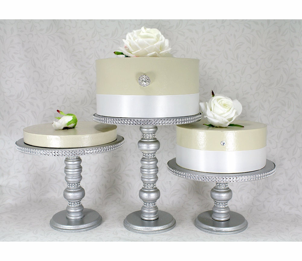 3 Silver Cake Stands Set Round Wooden Amp Rhinestone Party