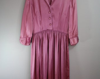 As Is 50's Dress // Mauve Satin // Small