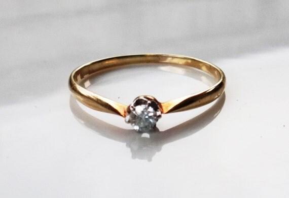 Vintage German Ladies Diamond Solitaire Engagement Ring In