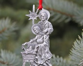 Lead Free Pewter Nativity Scene Ornament gift Made in Michigan  Free Shipping