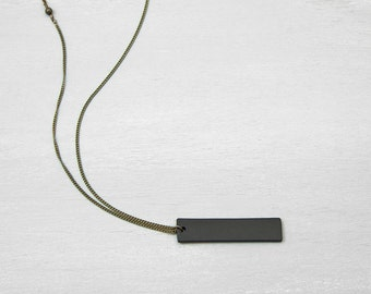 BLACK BAR Necklace // Mens Necklace Unisex // Thick Black Tag Pendant Necklace // Bar necklace: Personalized necklace
