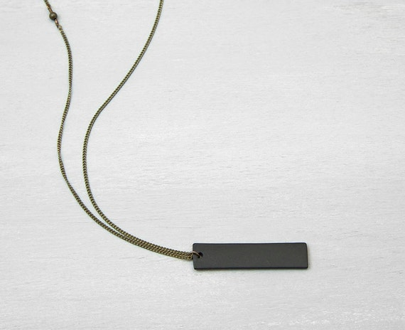 BLACK BAR Necklace //Customized Mens Necklace // Thick Black Tag on Your Choice of Chain // Simple Unisex Layering Chain