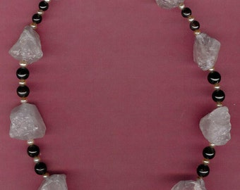 Petal to the Metal - Rose Quartz, Garnet, Freshwater Pearls, Sterling Silver Necklace