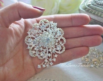 7 Pieces Awesome Flower Brooches with pin - Wedding brooch -  Crystal Brooch - Rhinestone brooch, Wedding Brooches
