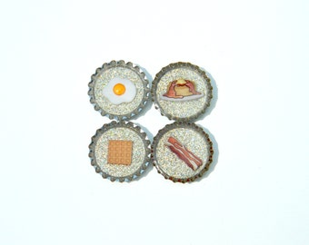 Bottle Cap Magnets - Breakfast - Set of 4