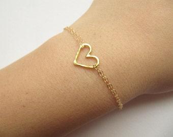 Gold Bracelet, Gold Heart Bracelet With Double Chain