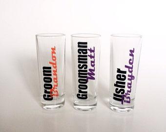 Groom Shot Glass, Groomsman Shot Glass, Men's Shot Glasses, Usher Shot Glass, Groomsman Gift, Groom Gift, Usher Gift, Wedding Shot Glasses