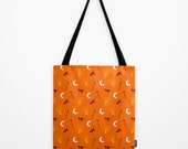 Halloween Printed Tote Bag, Orange Shoulder Bag, Travel Bag, Messenger, Handbag, Beach Bag with Black Cats