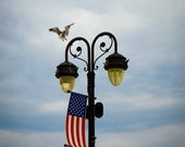 Ocean City NJ Boardwalk Light Post Photo // 8x10 Print Fine Art Photograph // American Flag