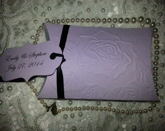 100 PILLOW BOXES  Embossed Flower with Custom Tag  Adorned with Satin Ribbon