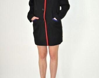 Vintage 80's Black Multicolor Trim Jacket