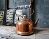Copper Tea Pot: Vintage Rustic Copper Tea Kettle with Blue and White Porcelain Handle, Shabby Chic, Farmhouse Decor, French Country Home