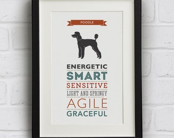 Poodle Dog Breed Traits Print - Great Gift for Poodle Lovers!