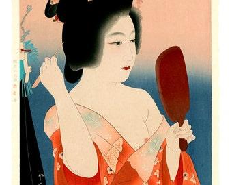 Japanese art, geishas and beauties paintings, woodblock prints, First Make-up FINE ART PRINT, japanese women portraits art prints, posters