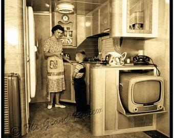 Vintage Trailer Print - 1950s Schult Mobile Home Interior - Classic Trailer Park Living - Streamline Modern Birch - 50s Vintage Portable TV