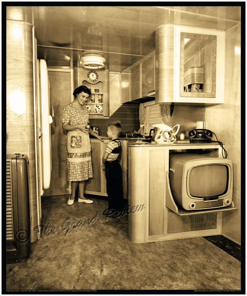 Vintage trailer print 1950s schult mobile home interior for Home decor 50s