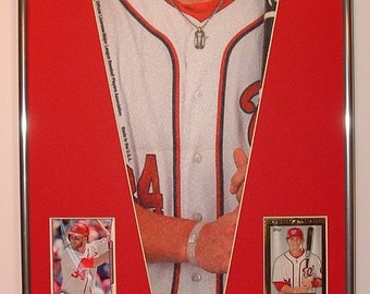 Washington Nationals Bryce Harper player pennant & baseball cards...Custom Framed!!!!!  #1