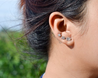 Three Owls Sterling Silver Ear Climbers