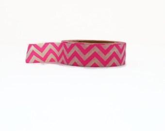 Chevron Washi Tape in Hot Pink - Neon Zig Zag Decorative Tape 10m x 15mm