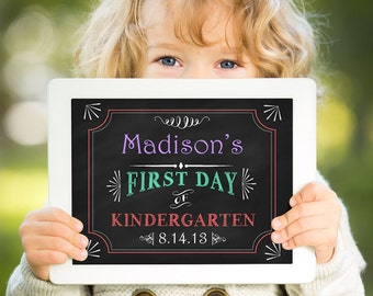First Day of School Sign - School Chalkboard Printable - Back to School Photo Prop - First Day of Kindergarten - Preschool Chalkboard Sign