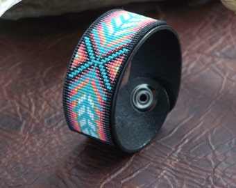 Native American Beaded Chevron Leather Bracelet With Soft Sunset Colors Of The Southwest by LJ Greywolf