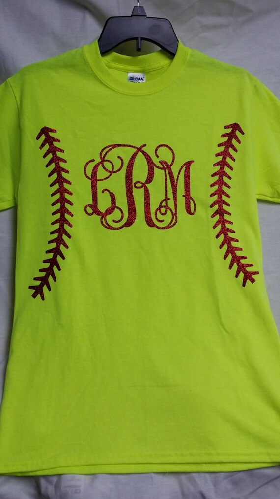name or monogrammed softball short sleeve youth t shirt with