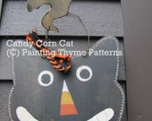 Fall Thyme Candy Corn Cat with Ghost