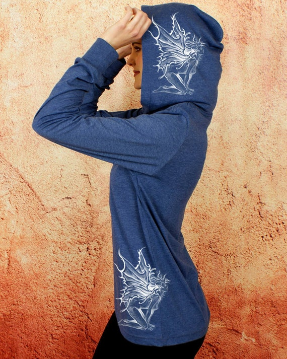 FAIRY Goddess Heather Navy Lightweight Tshirt Hoodie Long